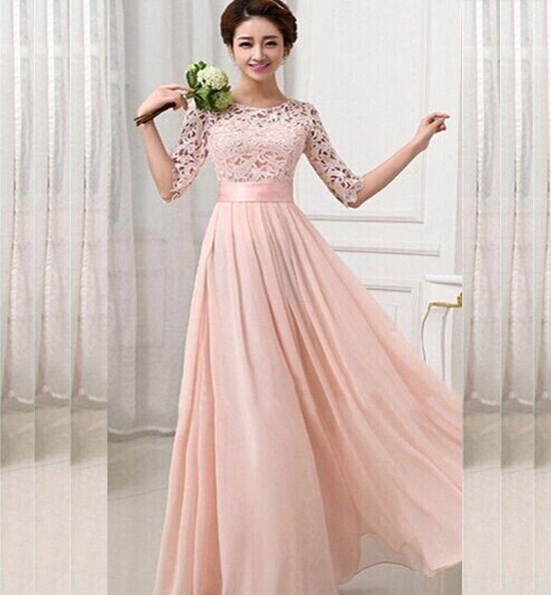 Wonderful Peach Chiffon Floor Length Maxi Dress   Rs.1,900