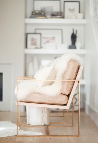 pink armchair. Rose gold. Home decor inspiration.
