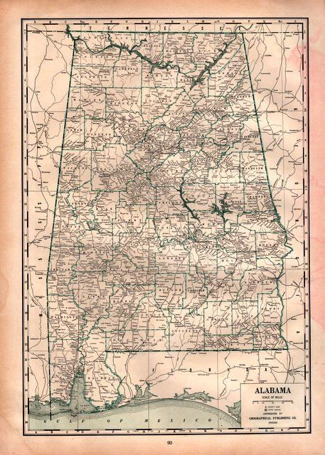 1941 Detailed Map of Alabama for decor ephemera Print to frame ... on