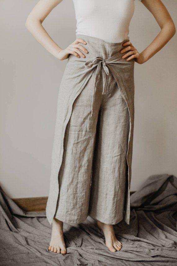 4954b55c3 Fisherman Pants Linen Wrap Pants Womens Line Yoga Trousers Loose pants Thai  Fisherman pants
