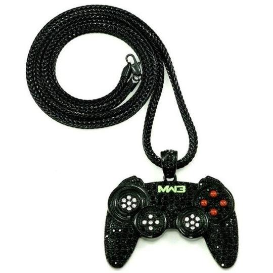 Hip Hop Game Machine Handle Necklace Pendant Mens Full