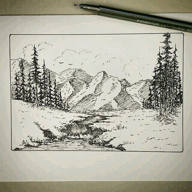 Check Out This Cool Penandink Landscape Drawing By Deanwrighty Dean Drew This Nature Artwork Landscape Pencil Drawings Landscape Sketch Ink Pen Drawings