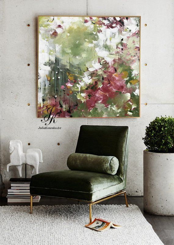 Photo of Oversized Wall Art on Canvas Original Green Abstract Painting Custom Oil Painting Large Canvas Art Texture Painting by Julia Kotenko