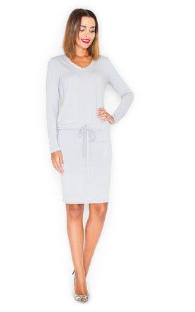 Light Grey Long Sleeve Tie Front Shift Dress