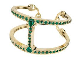 Hoorsenbuhs' 18-karat yellow gold cuff features 7 carats of Zambian emeralds