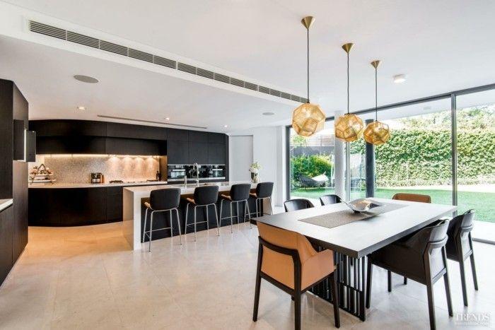 Kücheninsel ideen ~ Wohnungseinrichtung ideen esstisch pendelleuchten kuecheninsel