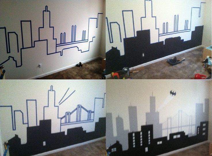 Super Heroes Bedroom Art On Pinterest Pins Batman - Superhero wall decals for kids rooms