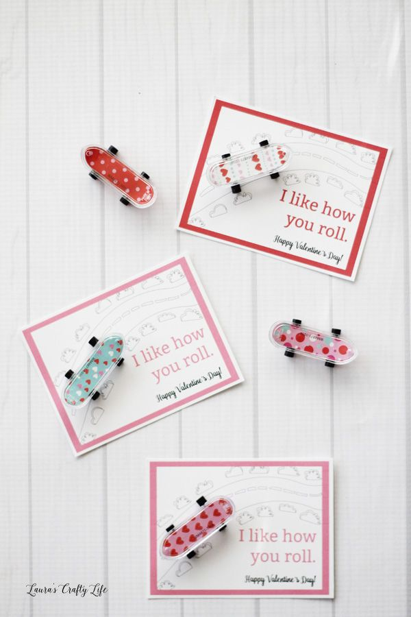 """Skateboard Valentine's Day Cards. Print out these free """"I like how you roll."""" Valentine cards to use with mini skateboard or car favors."""