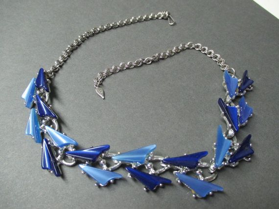 Gorgeous Deep Blue Thermoset Choker eames Era by LucyLucyLemon, $18.95