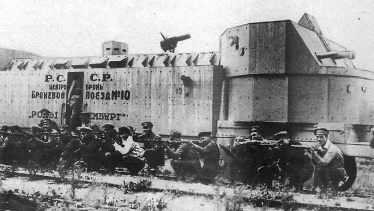 Red Army armored train with raiding party during the Russian Civil War