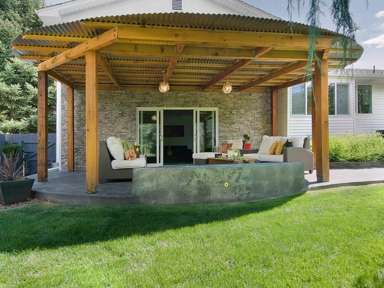 Corrugated Metal Roof And Cool Built In Seating Go To Www Likegossip Com To Get More Gossip News Pergola Terrace Garden Terrace Design