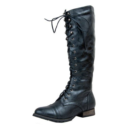 e7df2323690  sale Breckelle s OUTLAW-13 Knee High Stacked Heel Military Combat Boot