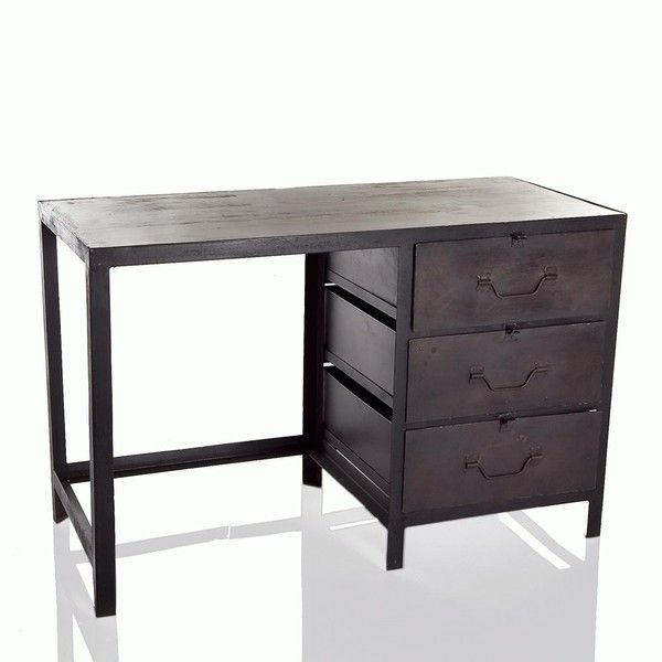 stoneleigh roberson industrial metal desk with drawers and wooden rh pinterest com metal desk with locking drawers metal office desk with drawers