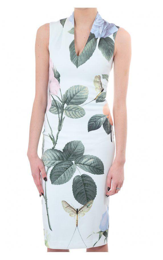 557f60720695c8 Ted Baker Womens Ravina Distinguising Rose Midi Dress Mint