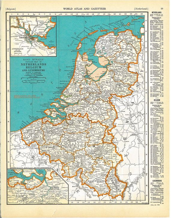 vintage map of netherlands belgium by rootsreclaimedvintag 1200