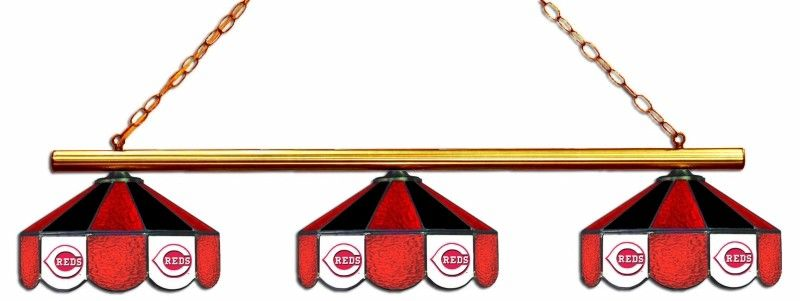 Cincinnati Reds 3pc Swag Glass Billiard Pool Table Light Lamp Glass Lamp Cincinnati Reds Pool Table Lighting