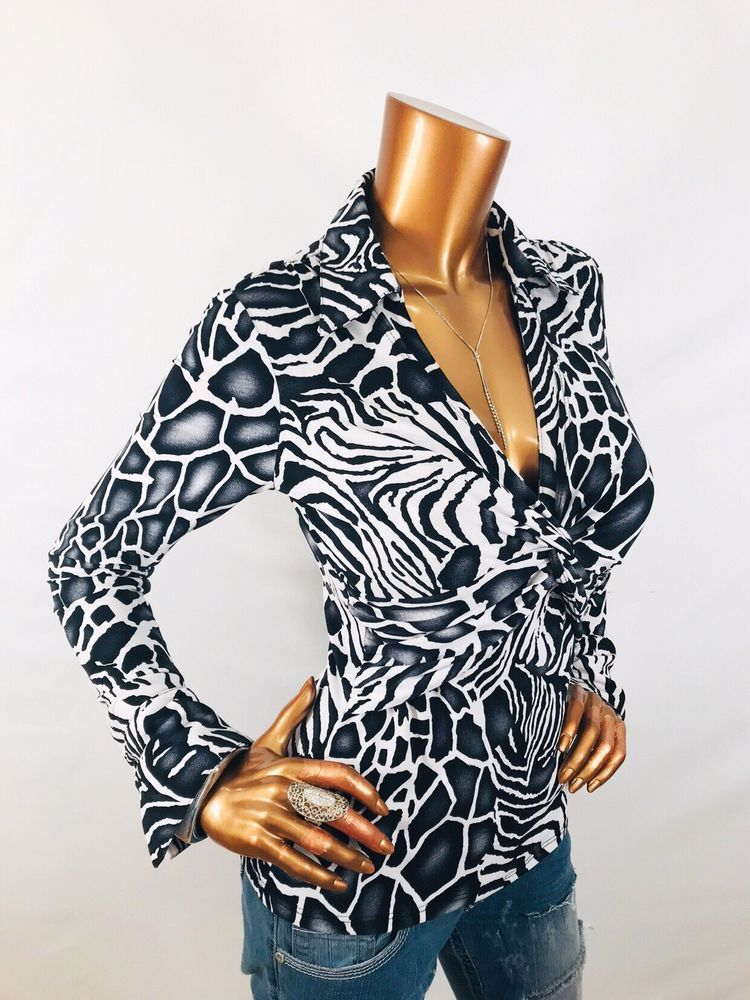89627f40 Cache M Top Stretch Animal Print Twisted Low Cleavage Cut Blouse Shirt Long  Sl V | eBay