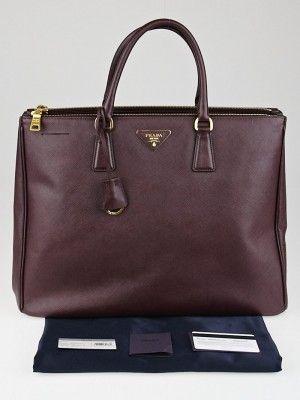 521830c21b57d6 Prada Bordeaux Saffiano Lux Leather Double Zip Executive Tote Bag BN1802.  Current retail price is $2500.