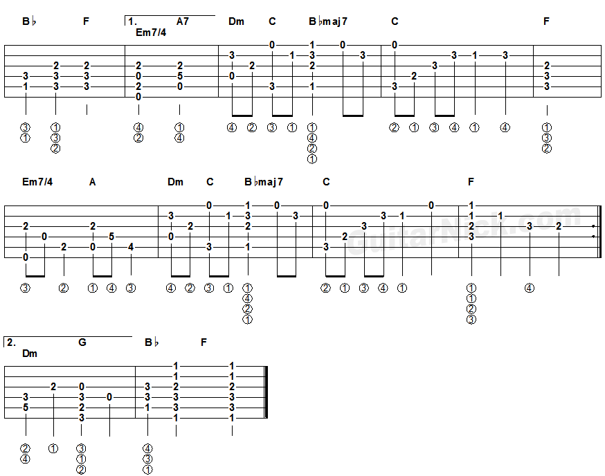 yesterday beatles fingerstyle guitar tablature 2