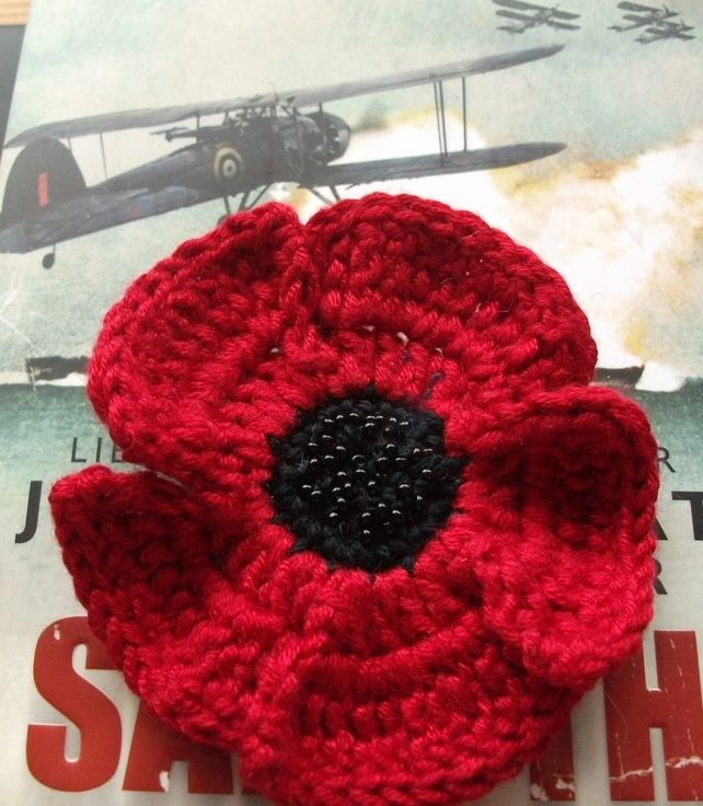 Beaded Crochet Poppy Brooch For Remembrance Day 500 Crochet