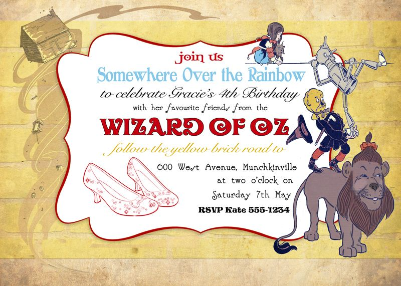 Wizard of Oz Invitation Invitation wording Party invitations and