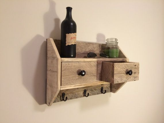 Delightful Lovely Solid Wood Shelf With Two Removable Drawers. Steel Hanger On Back  For Easy Hanging.