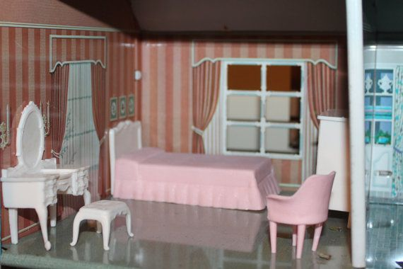 Marx Frech Provencal pink bedroom plastic dollhouse furniture, half