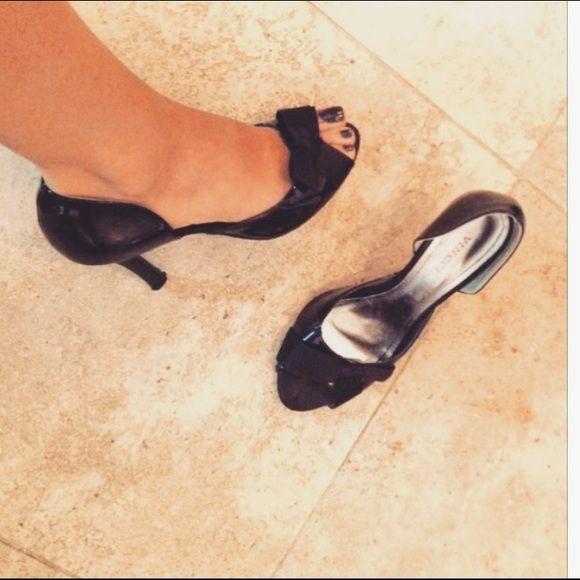 Black Peep toe heels Black heels by