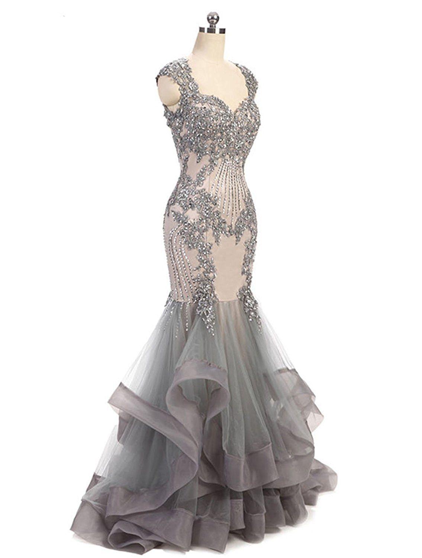 Fashionbride Womenus Lace Crystals Prom Dresses Long Mermaid Evening