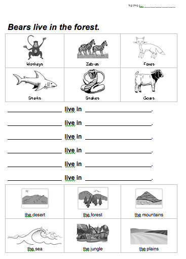 Animal Habitat Worksheet Animal Habitats Worksheets For Kids Animal Worksheets