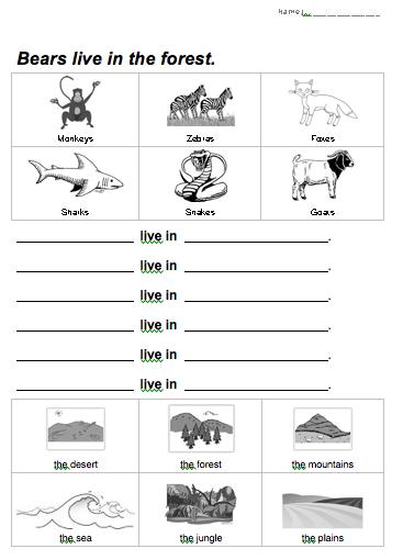 animal habitat worksheet   A,B,Cs & 1,2,3s - science ...