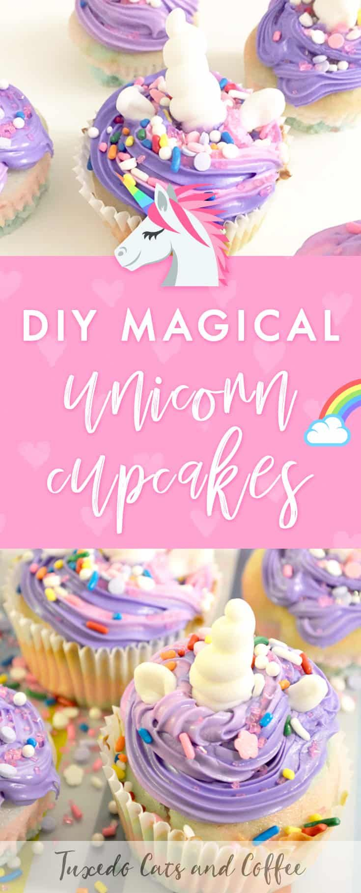 DIY Magical Unicorn Cupcakes - Unicorn cupcakes, Savoury cake, Unicorn desserts, Magic cake, Mini cakes, Diy cupcakes - Do you love unicorns and all the pretty sparkles and bright colors that go along with them  Do you love sweets  Then you'll love these DIY magical unicorn cupcakes that are a fun and magical way to frost and decorate cupcakes!