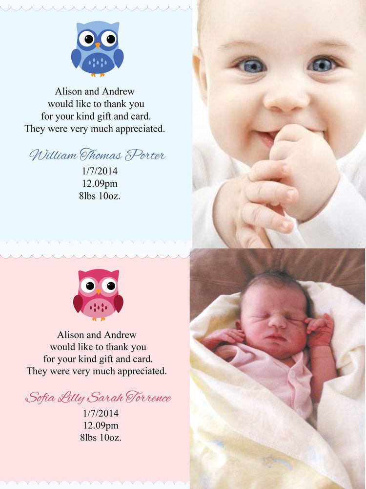 Personalised Photo New Baby Boy Girl Birth Announcement Thank