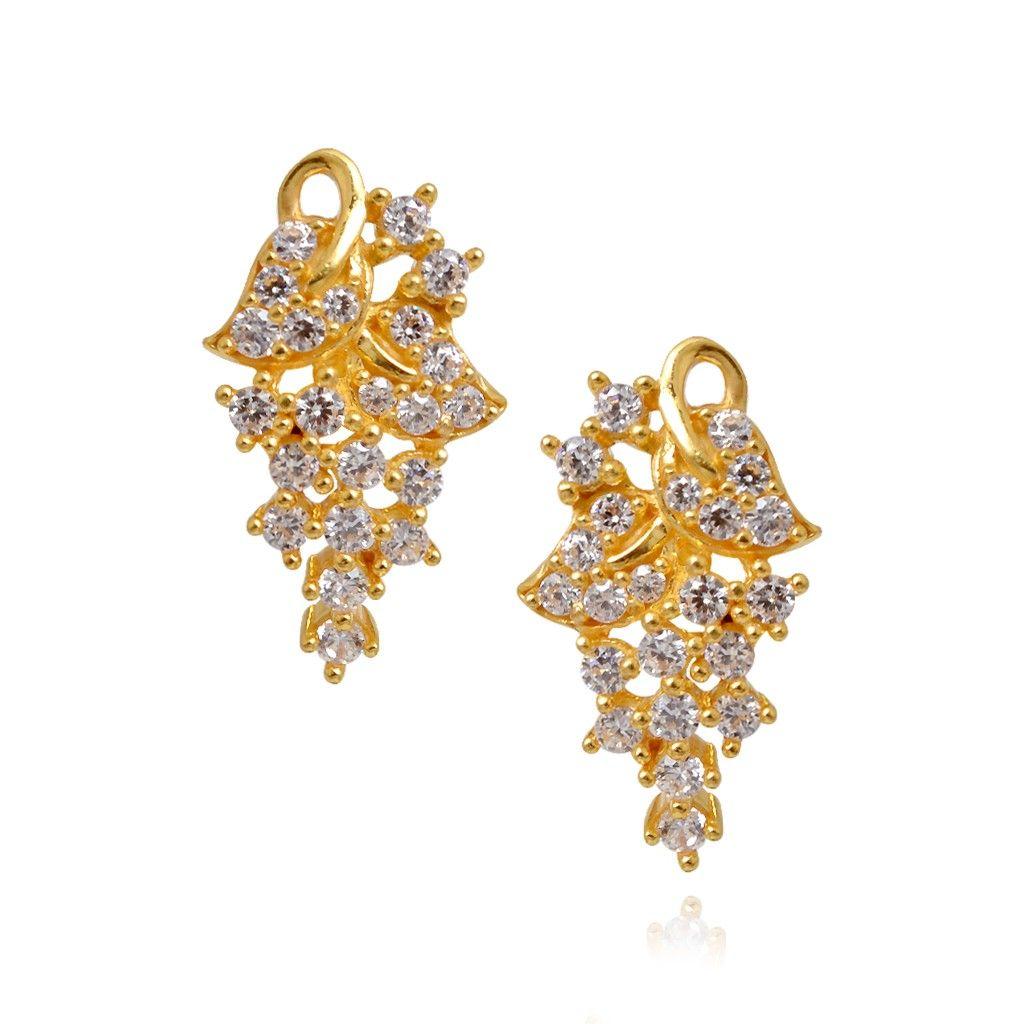 22kt Sterling White Stone Studded Gold Earrings