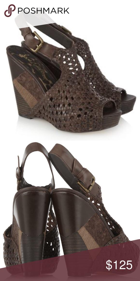 4fe6df9866af Sam Edelman Brown Kasi Woven Leather Wedge Sandals Sam Edelman Brown Kasi  Woven Leather Wedge Sandals. 5