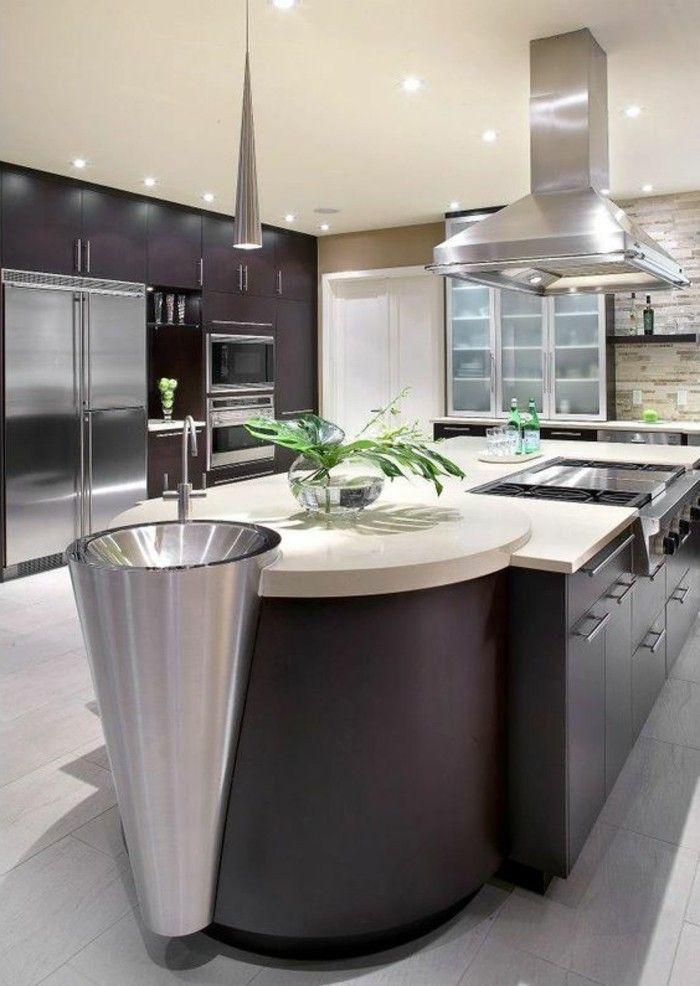 la cuisine quip e avec lot central 66 id es en photos d coration int rieure. Black Bedroom Furniture Sets. Home Design Ideas