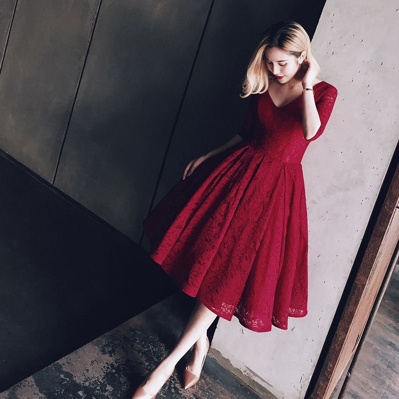 152 USD.Burgundy Lace Evening Dress,Half Sleeves Prom Dress,Short ...