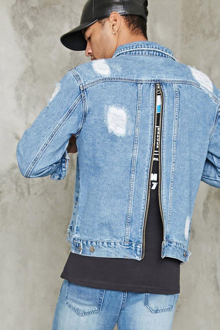 A Denim Jacket Featuring A Basic Collar Button Front Patch Chest Pockets Front Baste Stitch Zipper Pockets Lon Denim Inspiration Denim Jacket Denim Fashion [ 1125 x 750 Pixel ]