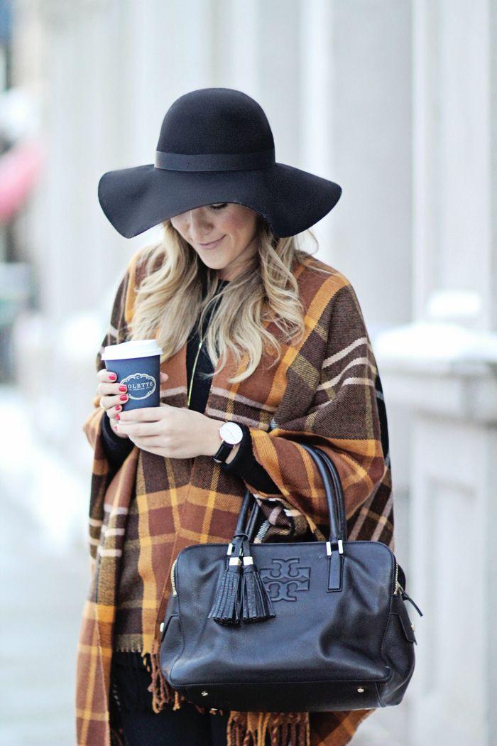 Black Felt Floppy Hat with plaid scarf worn as shawl  49c8dfbda407