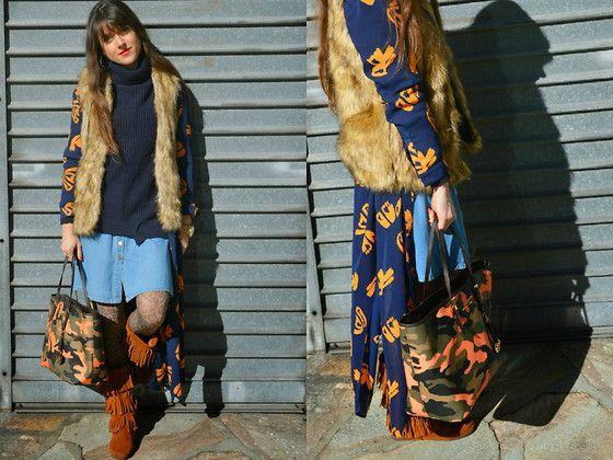 Jeanne - Zara Fur Vest, H&M Maxi Dress, Zara Turtleneck, Oysho Denim Dress, Michael Kors Tote, H&M Leo Tights, Minnetonka Boots - Print Mixing Fun Layering and Minnetonkas