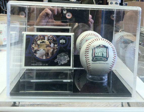 Baseball Card And Baseball Display Case Vertical Or