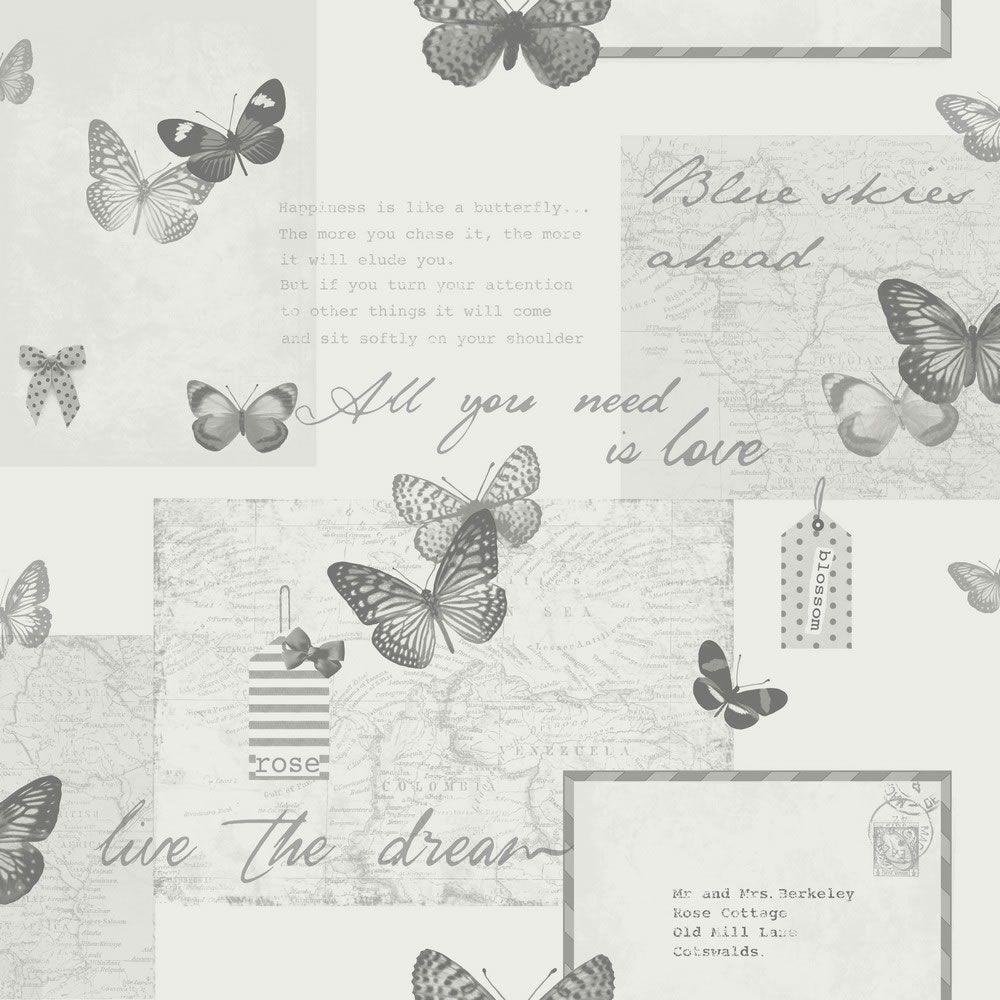 Arthouse Retro Collage Grey Wallpaper