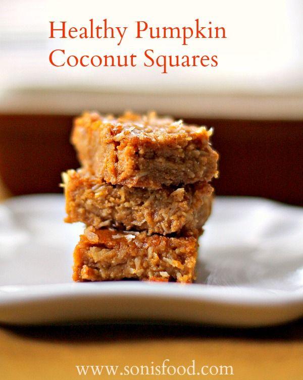 Healthy Pumpkin Coconut Squares using Almond Flour and Agave! #pumpkin #agave #almondflour #dessert #healthy #kids