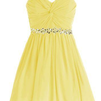 Dressystar Short Chiffon Bridesmaid Dresses Strapless Girls Prom Gowns
