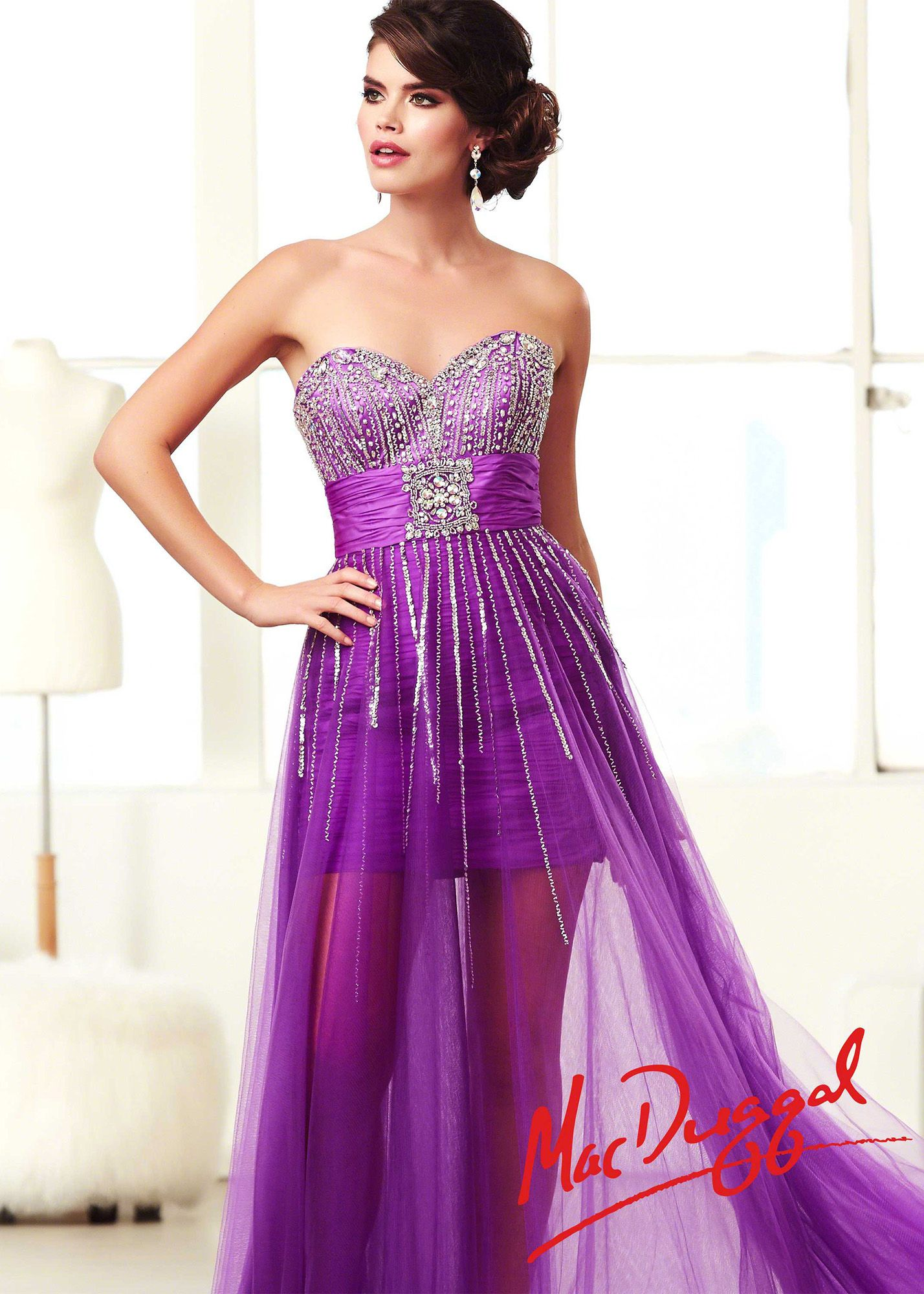 Mac duggal a purple strapless beaded prom dresses online