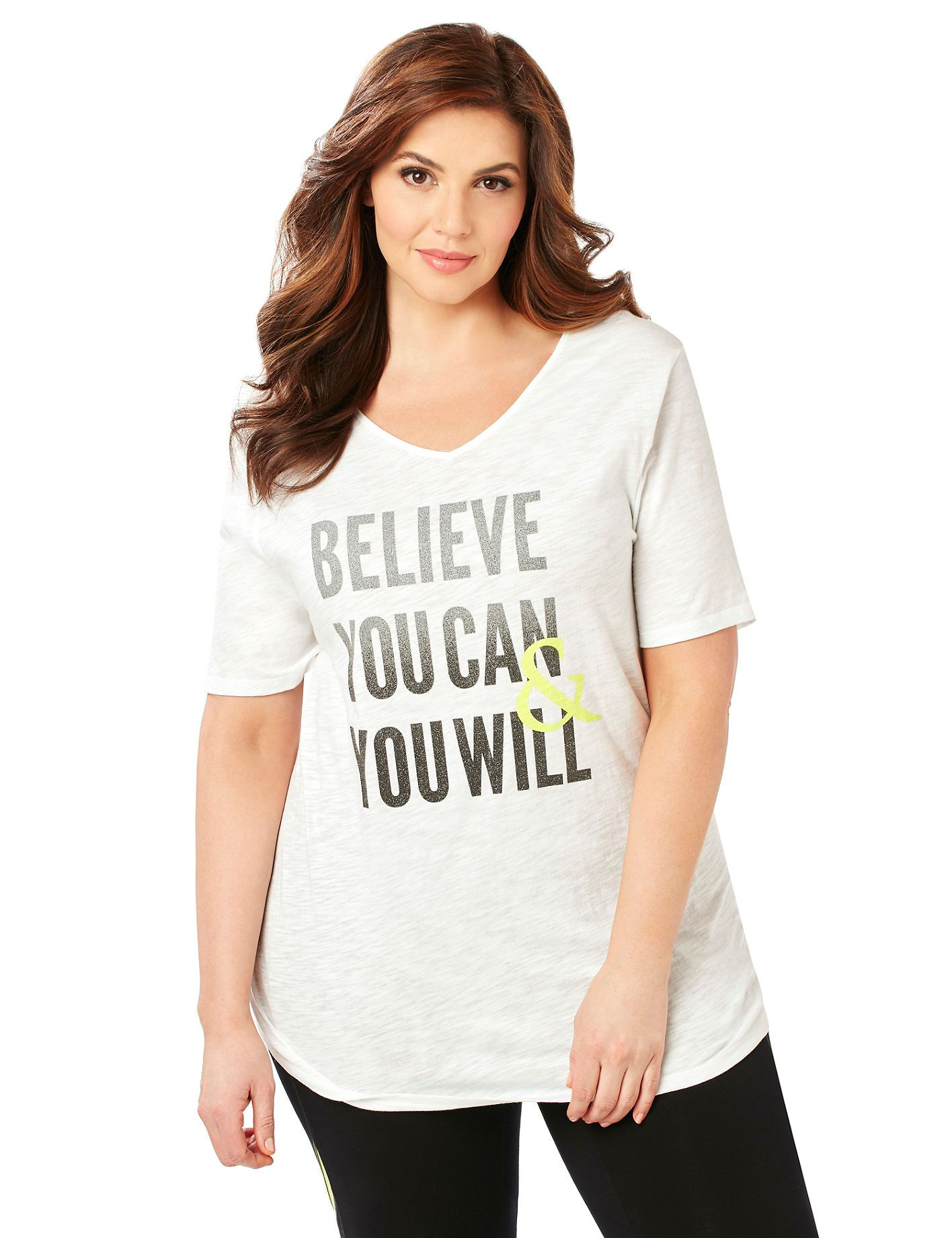 Believe Tee | Catherines  Our inspirational tee offers positive words of encouragement to keep you motivated all day long. The soft slub knit fabric is breathable and relaxed, while the keyhole back detail adds interest. Solid back. V-neckline. Short sleeves. Catherines tops are designed for the plus size woman to guarantee a flattering fit. #catherinesplus #plussize #plussizefashion #believeinyourself #activewear