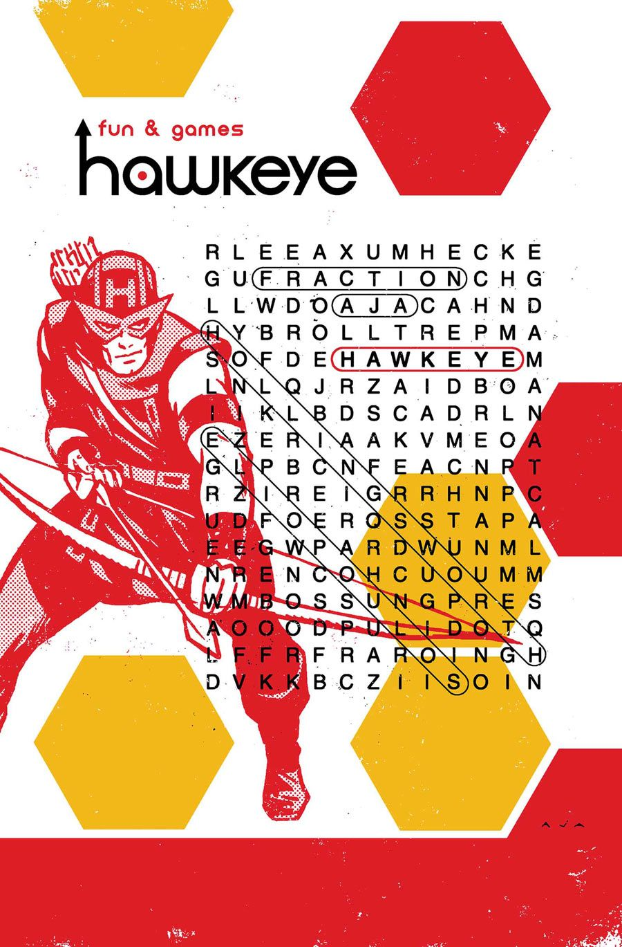 Brilliant design. Fraction & Aja's Hawkeye #20. Is that a Don Heck Hawkeye?
