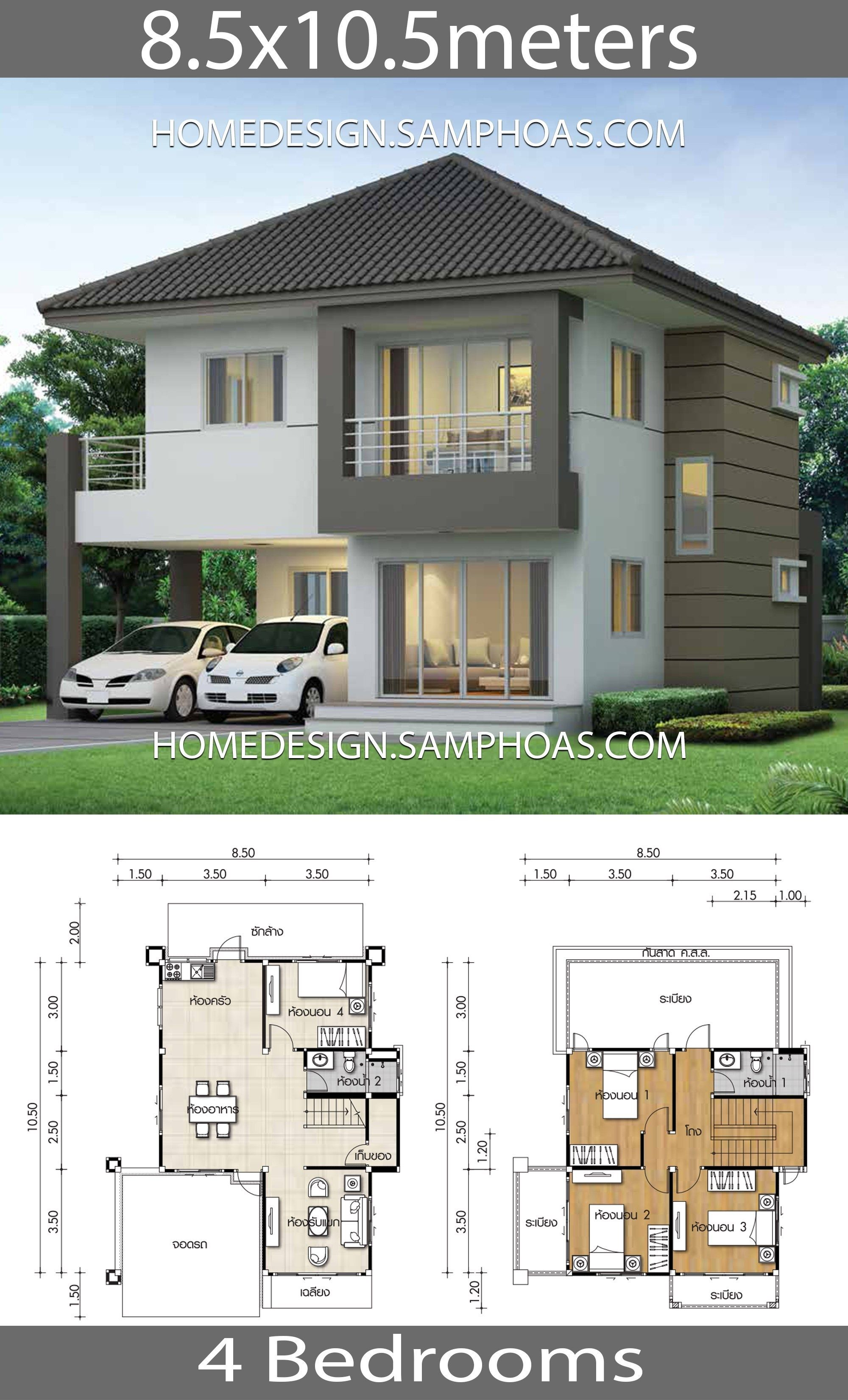House Design Plans 8 5x10 5m With 4 Bedroomshouse Description Ground Level One Bedroom Two Cars Parkin Architectural House Plans House Plans Model House Plan