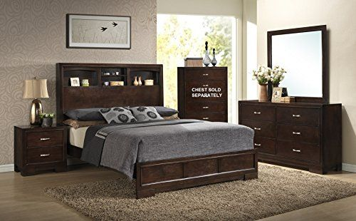 Awesome Roundhill Furniture Montana Modern 4-Piece Wood Bedroom Set