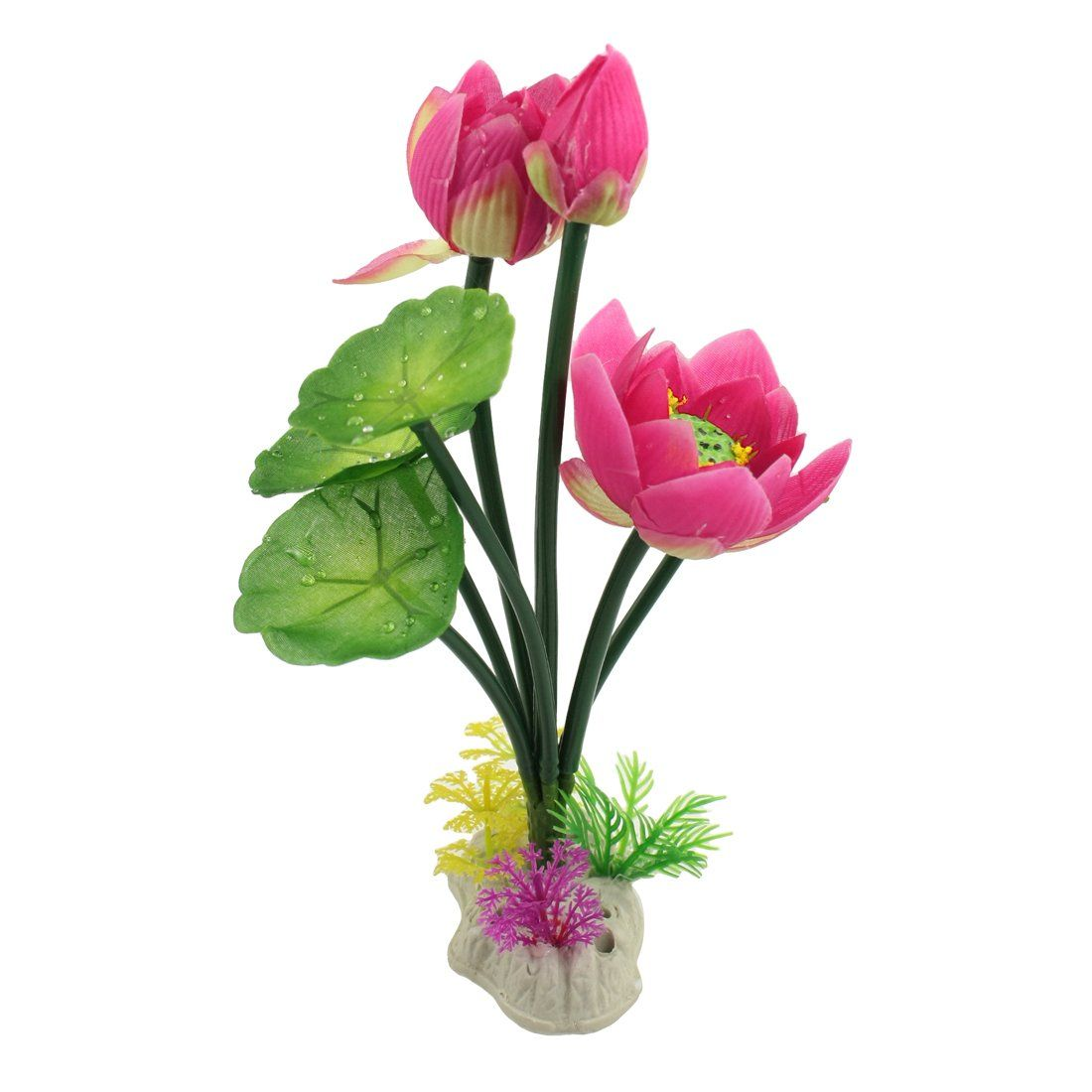 Jardin Plastic Artificial Lotus Leaf Flower Plants For Aquarium